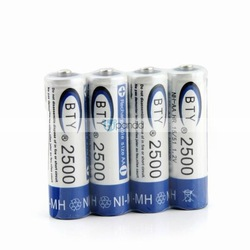 4 x New 2500mAh 1.2V AA Ni-MH Rechargeable Battery A10324(China (Mainland))