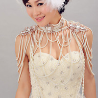 Banquet 2013 married pearl chain necklace earrings accessories large cape