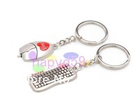 free ship 234pcs Alloy keyboard & mouse key chain creative couple lovers key ring advertising gift keychain can custom logo