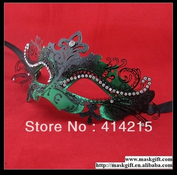 48Pcs/lot Assorted Colors High Quality Pretty Green And Black Italian Butterfly Masquerade Mask D009