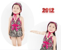 New design! summer beach wears girl's swimsuits baby Swimwear TUTU bathing suits leopard swimwears with caps 5sets/lot