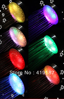 Free shipping!The best price+high quality 7Color flashing Romantic LED Bathing Shower Head no battery Temperature Sensor Control