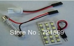 Free shipping PCB 15SMD 1210 LED Auto Car Top Dome Light For Interior Reading Roof light with T10 BA9S S8.5 Festoon Bulb Adapter(China (Mainland))