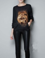 1pc/lot , Free Shipping 2013 New  Fashion Women Leopard Head Pattern   Asymmetric T-shirt   Long Sleeve Blouse  Tops Zipper