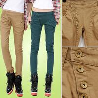 Plus size buttons female jeans casual trousers denim harem pants boots pants 2012