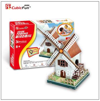 New Children CubicFun 3D Puzzles Paper Model  Solar Powered Wind Mill DIY Jigsaw Toy
