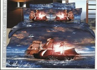 New 4pc bedding cover sets,ocean bedding,500TC cotton ocean sea and boat bed sheet,queen/full size,EMS freee shipping