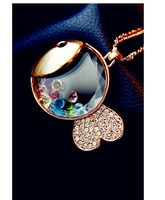 2013 Newest Fashion Gold Fishes Pendant Necklaces Shinning Crystal Rhinestone Animal Jewellery SJ-X7