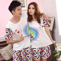 100% cotton lovers sleepwear at home service summer cotton 100% lounge sleepwear male women's short-sleeve set