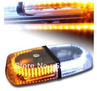 Free Shipping YELLOW & WHITE Emergency Hazard Warning 240 LEDs Mini bar Strobe Flash Light w/ Magnetic Base DC 12V