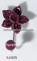 new design single hook with colored ceramic flower and knob ball coat hook coat hanger towel hook wholesale YJ1075