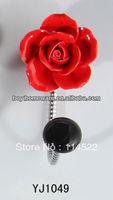new design single hook with colored ceramic flower and knob ball coat hook coat hanger towel hook wholesale YJ1049