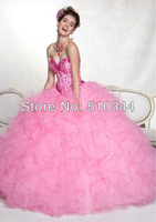 Fast shipping by DHL Q8833 sweetheart beading organza pink Ball Gown dresses with jacket Quinceanera Dresses 2013