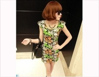 2013 Free shipping  New Women Fashion Print skeleton O-Neck  Party Sexy &amp; Club Cotton Top Mini Dress Ladies Blouse