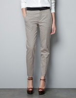 2013 new womens' fashion Plaid trousers Pants/formal career pants/stretchable material  slim quality designer pants