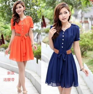 Women Short-sleeve Casual Summer Dress With Belt 2014 New Fashion Wome Chiffon Dress + Free Shipping