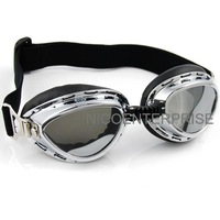 Motorcycle helmet goggles cross country skiing windproof mirror goggles silver plated black lens