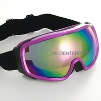 Motorcycle ride helmet goggles cross country skiing windproof mirror goggles purple box colorful reflective lens
