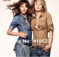 Denim shirt short paragraph Slim models long-sleeved big yards Blue,Camel S,M,L,XL