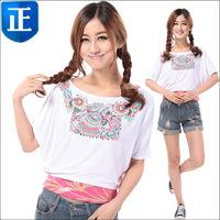 2014 Girls modal batwing sleeve loose slim waist T shirt ,print short-sleeve cotton t-shirt  Chinese national style ,Clearance