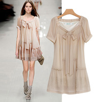 Women's Sophisticated Vintage knee-length Embroidery Lace Crochet black beige chiffon dress Free Shipping LY121047