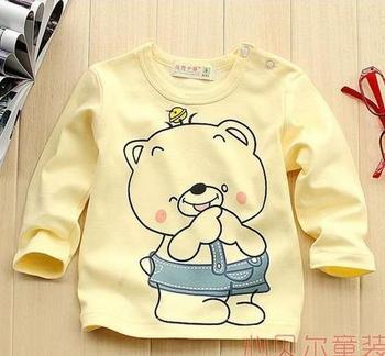 4 pcs/lot baby boys girl T Shirt bear Kids Summer Wear Long Sleeve Cotton blouses TZ0141