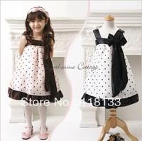 Brand Children Girl's Dress Princess White Kids Dresses With white Bow Infant Clothing