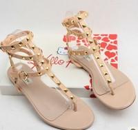 Women's Fashion Quality Rivet Strap Buckle Casual Flat Heel Gladiator Roman Sandals Flip Flop Shoes H494