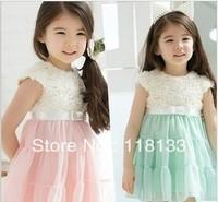 2013 popular summer girl rose flower dress baby girl dress Lace baby girl party dress Children's short sleeve dress