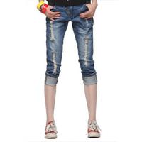 New 2014  jeans shorts women autumn placket vintage hole capris short jeans knee-length hot pants Clearance