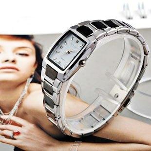 Fashion black and white steel strip women's watch diamond rectangle casual lady watch