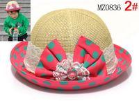 Baby strawhat big dot bow child bucket hats princess hat female child hat