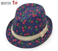 Spring and autumn fedoras child baby jazz hat male female child bucket hats cherry hat