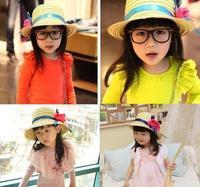 Summer child strawhat big flower ribbon sunbonnet female child beach cap hat
