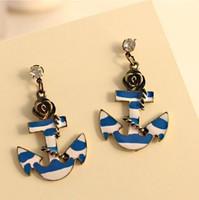 Min order $15 (mix order)Vintage retro blue rinestone Ship Anchor Earrings stud Free Shipping Earrings Supplier