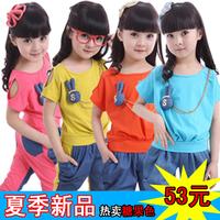 Big children's clothing female child summer 2013 denim set summer short-sleeve T-shirt child sportswear