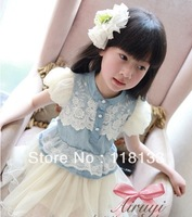 Wholesale-Lace denim yarn princess dress cake skirt new dresses 2013 fashion girl Baby girls' dress