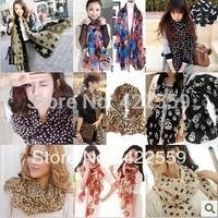 women's lengthen scarf fashion leopard print velvet chiffon silk scarf