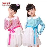 Wholesale 2013 spring autumn new female children's wear long-sleeved striped princess tutu dress