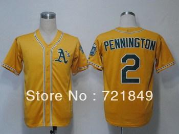 Free shipping Cheap Oakland Athletics #2 Pennington cool base baseball Jersey green,white,gold size M-XXXL