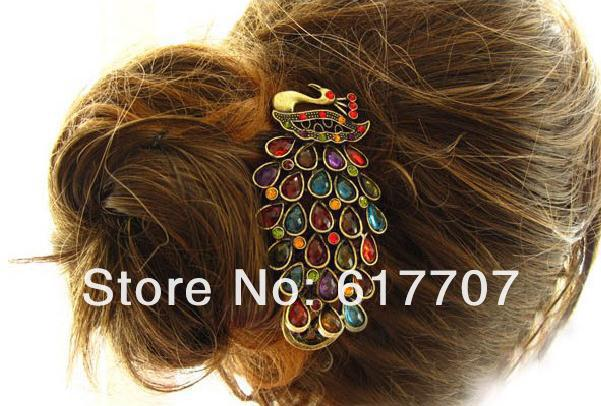 Min. Order is $10 Wholesale Free Shipping 2013 Vintage Faux Crystal Rhinestone Peacock Hairpin Bandana Clip Hair Accessories(China (Mainland))