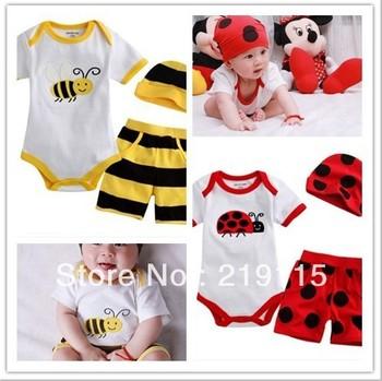 Newborn supplies baby summer clothing summer baby jumpsuit  three-piece
