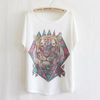 Fashion Women Beaded Loose Bat White Short-Sleeve T-shirt women's clothing free shipping t-shirts 012