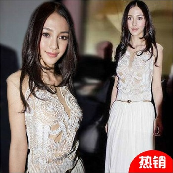 fashion chiffon plate huaqun white o neck long design tank dress one piece dress
