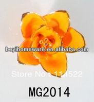 new design orange ceramic flower knobs with gold edge cabinet pull kitchen cupboard knob kids drawer knobs MG2014