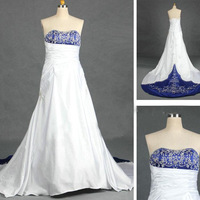 White/Blue A-Line Satin Embroidery Bride Wedding Dresses Gown Prom Party Custom Size *8 10 12 14 16 18+ Free Shipping