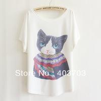 Fashion Women Beaded Loose Bat White Short-Sleeve T-shirt women's clothing free shipping t-shirts 010