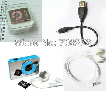 Hot Sale Mini Mirror Clip MP3 Music Player With TF Card Slot Support 1-8GB Micro SD Card+earphone+usb cable can mix color 10set