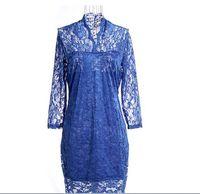 New Fashion Ladies'  Sexy  Mini LACE SLIM V-NECK 3/4 SLEEVE DRESS Plus Size 8 Colors