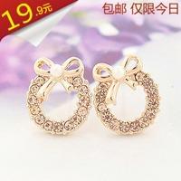 2013 fashion Pearl bow round stud earring female created diamond earrings anti-allergic earring quality accessories earring